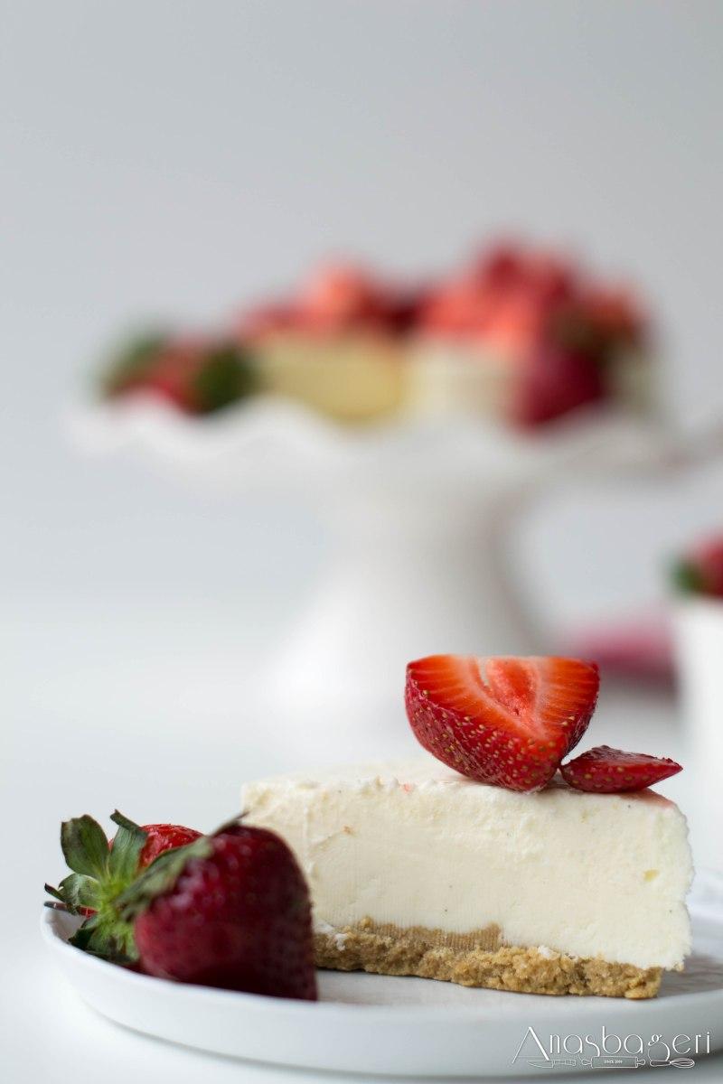 Cheesecake de morangos, skyr e lakrits