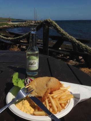Peixe frito e sol durante o Verão